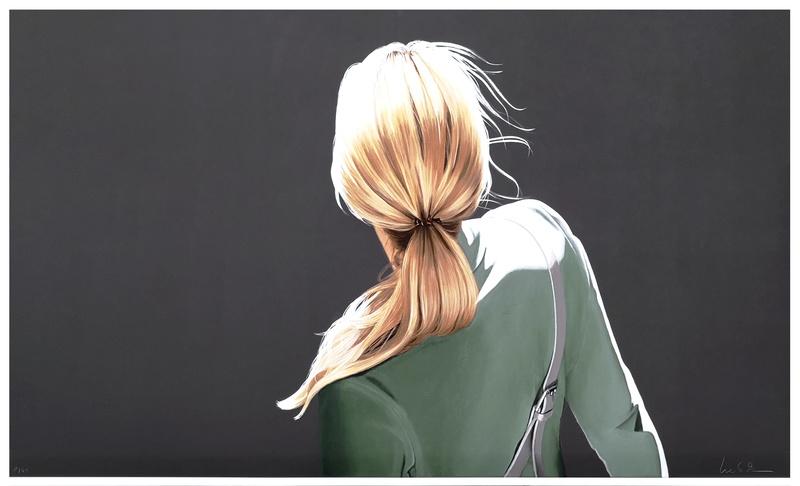 Sabine Liebchen: Mädchen mit grüner Jacke, Lithografie, Auflage 40, Format 100 x 61 cm, 920 Eur
