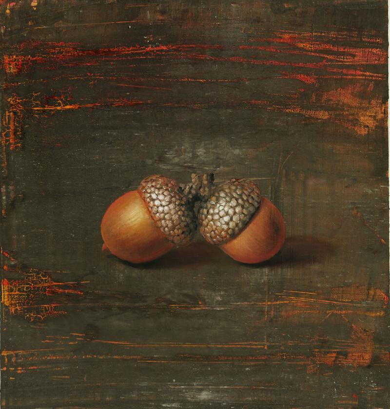 Michael Lauterjung: Eicheln, Acryl, Lack, Öl, auf Holz, 48 x 51 cm, 1.800 Eur