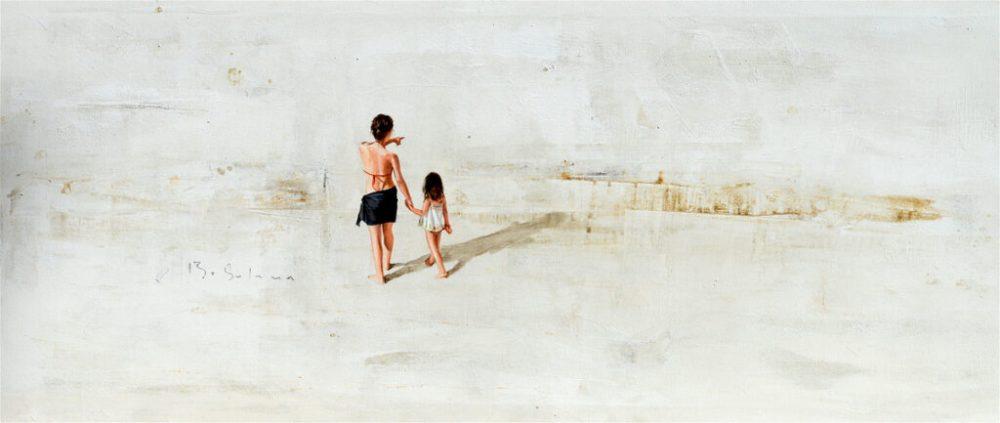 Berta Solana: Ninas en el parque, Öl auf Leinwand, 130 x 50 cm, 1.300 Eur