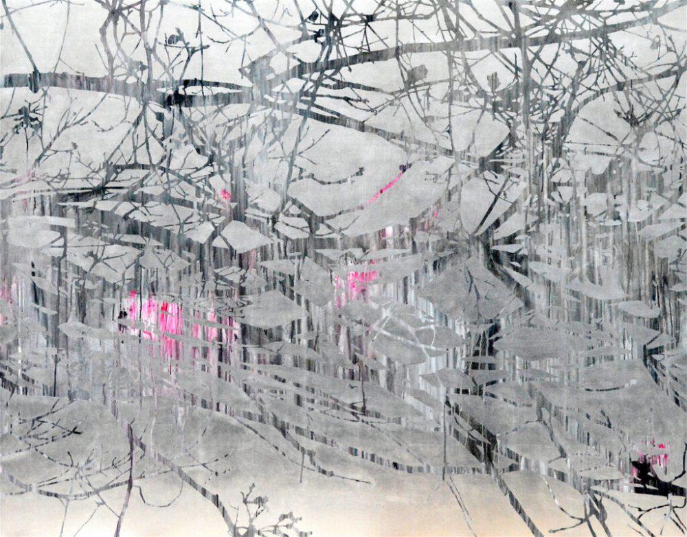 Birgit Nadeau: o.T. (Äste), Acryl und Blattaluminum auf Leinwand, 190 x 150 cm, 6.800 Eur