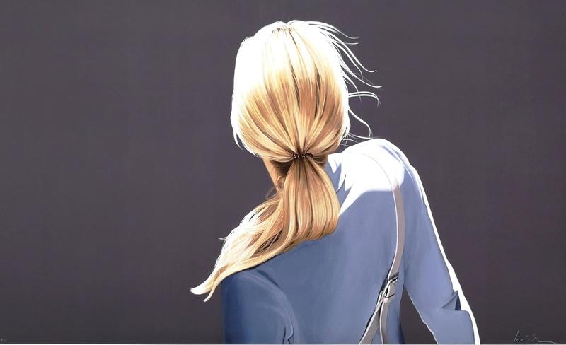 Sabine Liebchen: Mädchen mit blauer Jacke, Lithografie, Auflage 40, Format 100 x 61 cm, 920 Eur