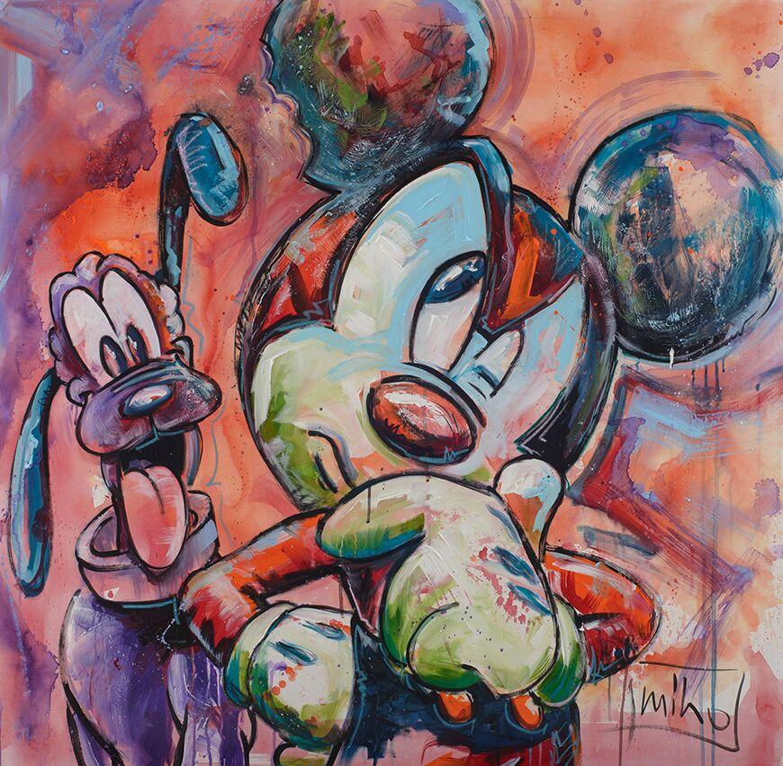 Miho: Mickey und Pluto, Acryl auf Leinwand, 110 x 110 cm, 3.700 Eur