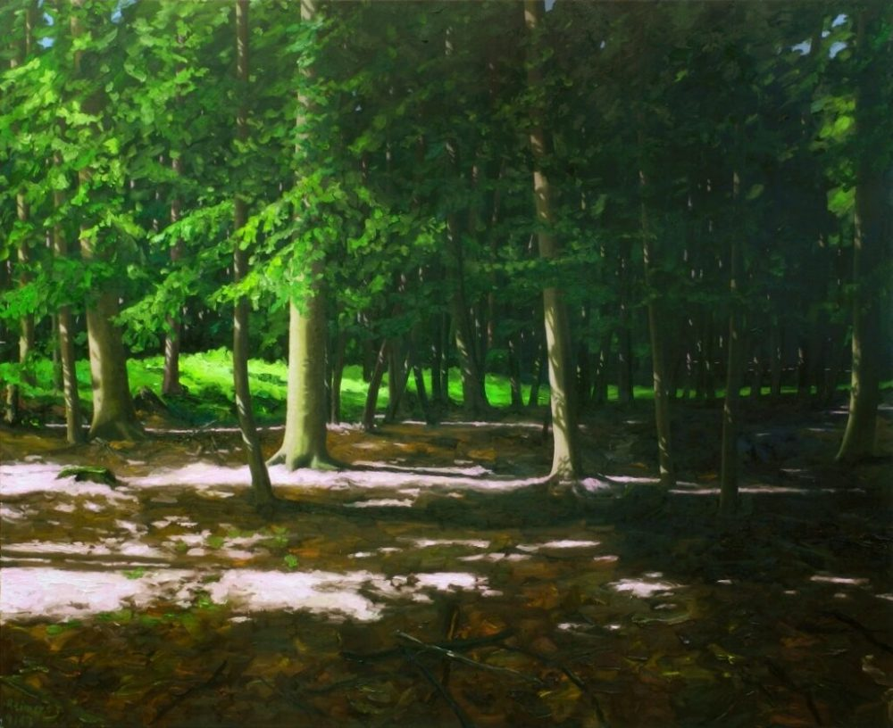 Hermann Reimer: Wald 2018, Öl auf Leinwand, 220 x 180 cm, 13.000 Eur