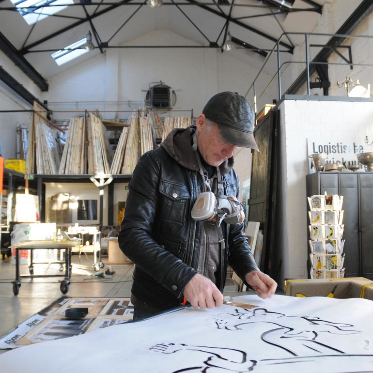 Thomas Baumgärtel im Atelier ©Thomas Baumgärtel