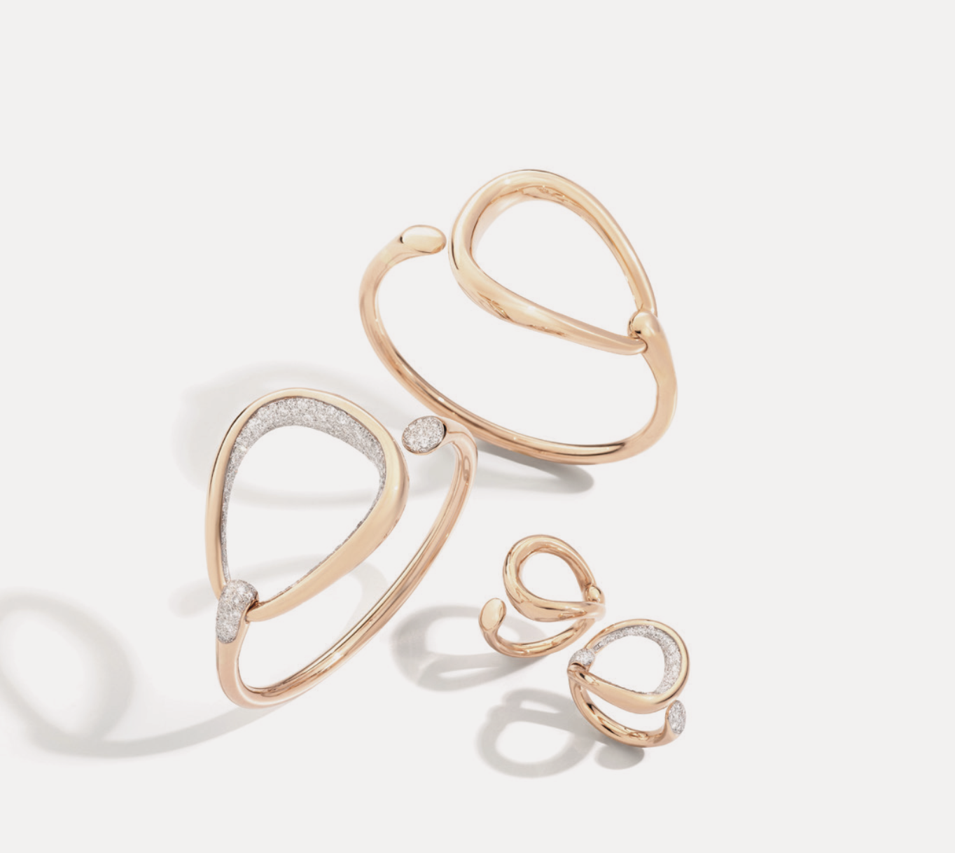 Pomellato: Armspange Fantina Roségold — Armspange Fantina Roségold mit Diamanten — Ring Fantina Roségold — Ring Fantina mit Diamanten ©Pomellato