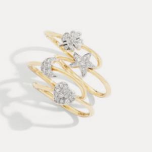 Dodo: Ring Precious Icon Herz 18ct Gold mit Diamanten – Ring Precious Icon Mond, Stern und Kleeblatt 18ct Gold mit Diamanten ©DODO