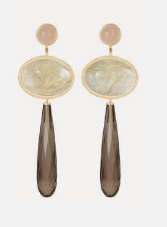 Ole Lynggaard: Ohrring Lotus auswechselbar 18ct Gold mit Mondstein, Rutilquarz und Rauchquarz ©Ole Lynggaard