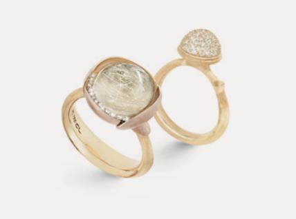 Ole Lynggaard: Ring Lotus no.3 18ct Gold mit Rutilquarz und Brillanten 0,05ct – Ring Lotus medium pavé 18ct Gold mit 76 Brillanten 0,40ct ©Ole Lynggaard