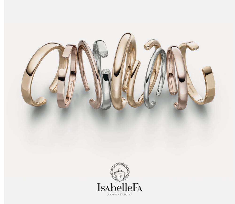 IsabelleFa: Armreifen Flix.Flex in Gelbgold, Roségold, RougeRoyal und Weißgold, verschiedene Breiten und Formen ©IsabelleFa