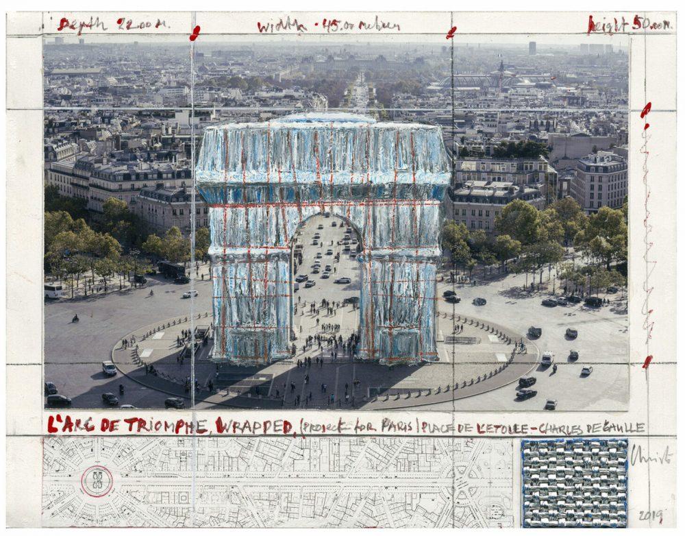 Christo und Jean-Claude: Arc de Triomphe (Project for Paris), Pigmentdruck auf Bütten, 50 x 40 cm, limitiert, Auflage 500, 290 Eur