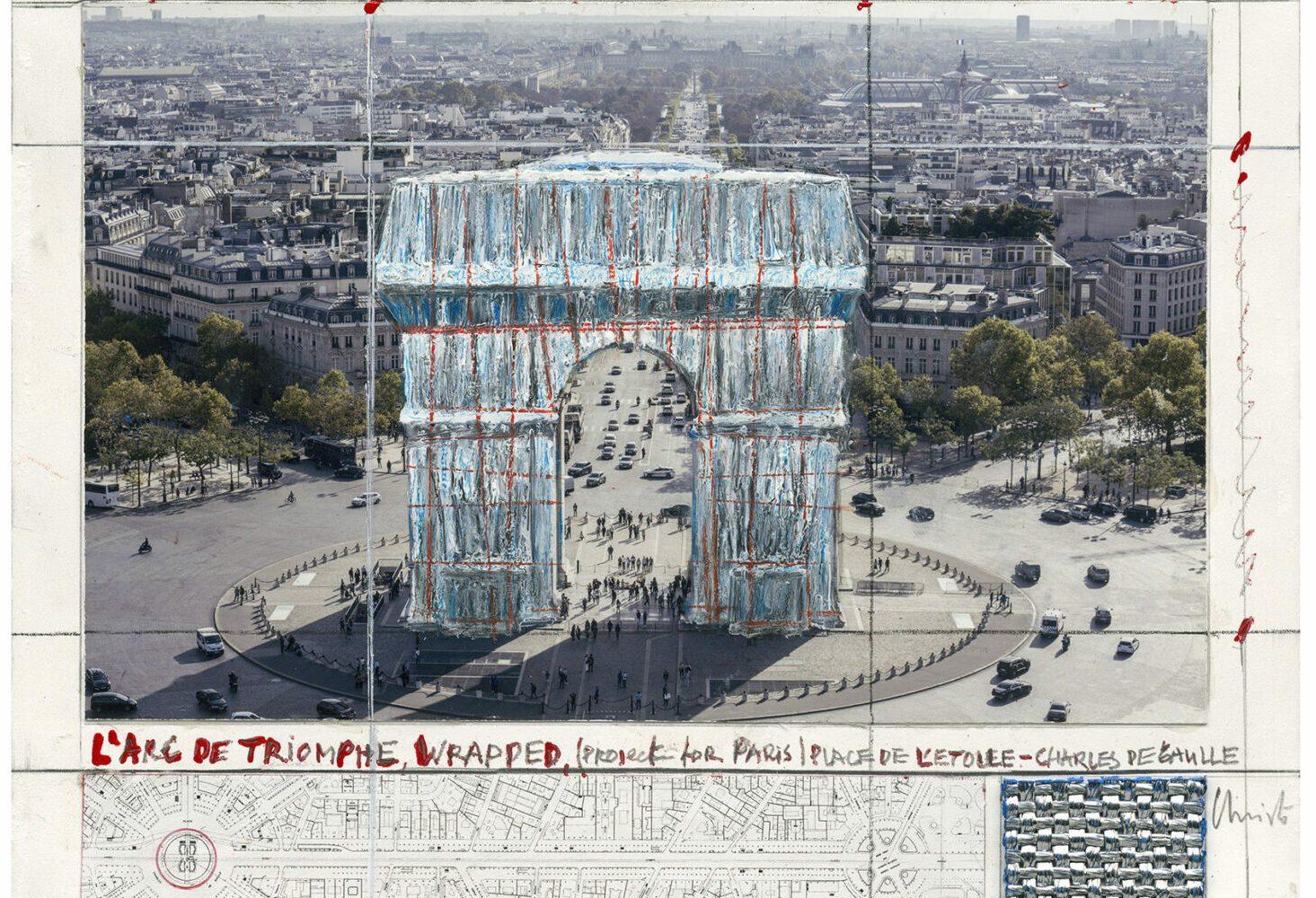 Christo und Jeanne-Claude: Arc de Triomphe (Project for Paris), Pigmentdruck auf Bütten, 50 x 40 cm, limitiert, Auflage 500