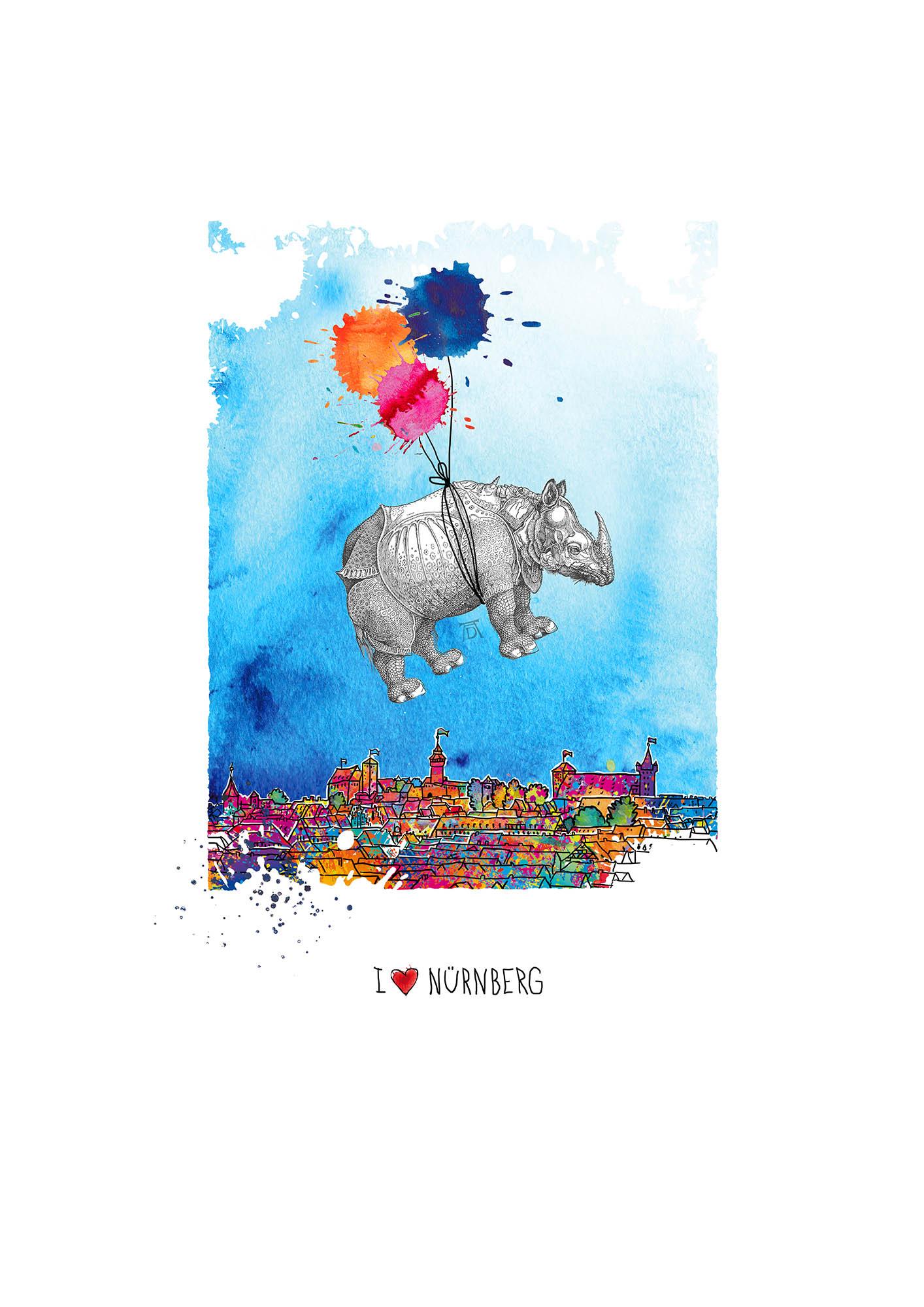 Birgit Osten: Flying Rhino, Giclée Druck auf Bütten, Auflage 199 Exemplare, Blattformat 29,7 x 42 cm, handsigniert und nummeriert, 190 Eur ©Birgit, Osten