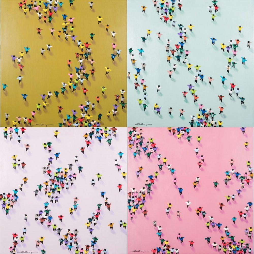 Santiago Navarro: Pack people colors 2, Unikat, Mischtechnik auf Leinwand, auf Keilrahmen gezogen, 4-teilig, Format 120 x 120 cm, handsigniert, 3.300 Eur