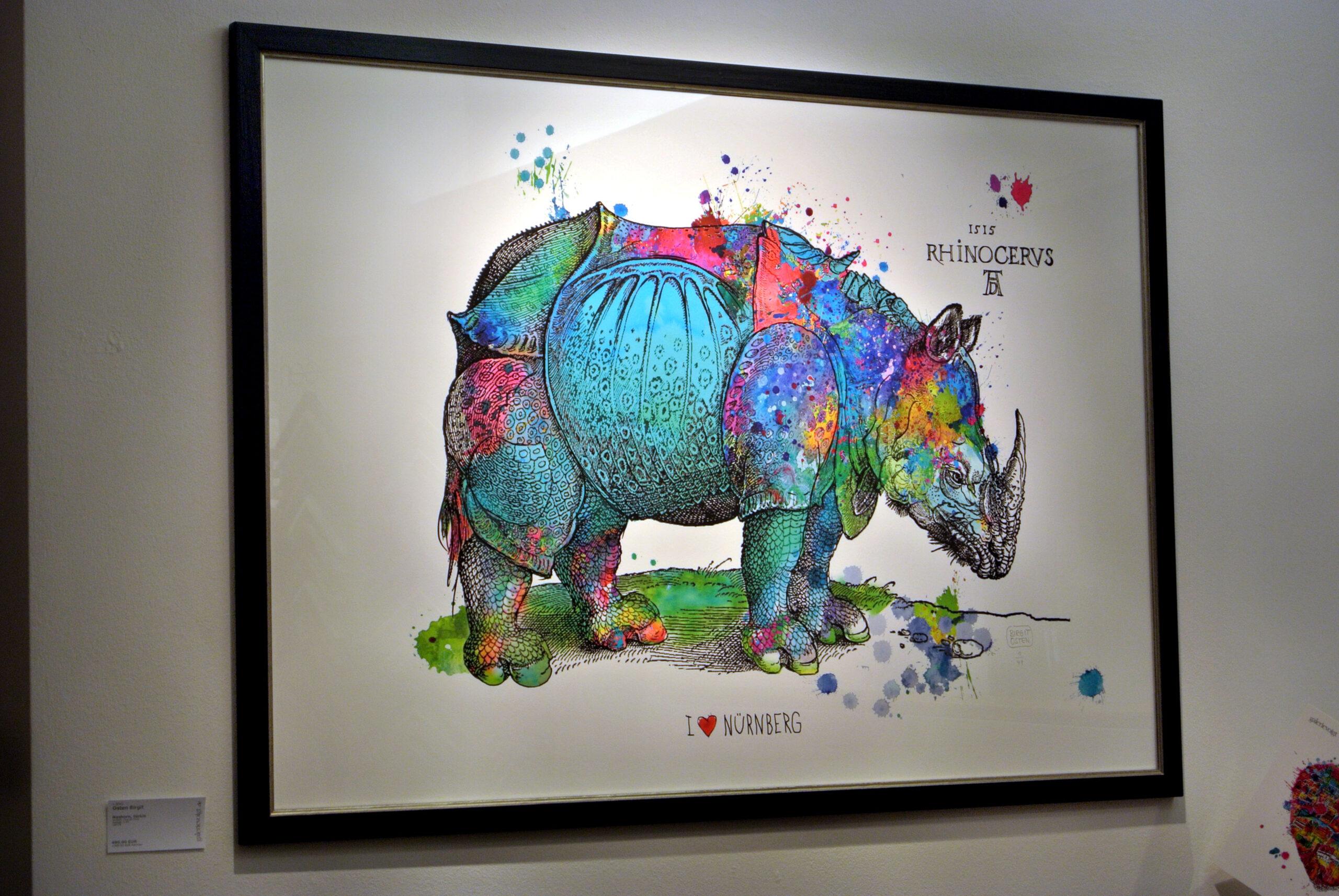 """""""Happy Rhino, bunt"""" Birgit Osten ©Galerie Voigt"""