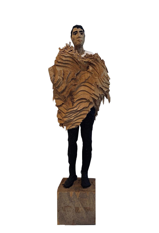 Edvardas Racevicius: o.T., Unikat, Holz, bemalt, Format 25,5 x 85 cm, handsigniert, 5.000 Eur