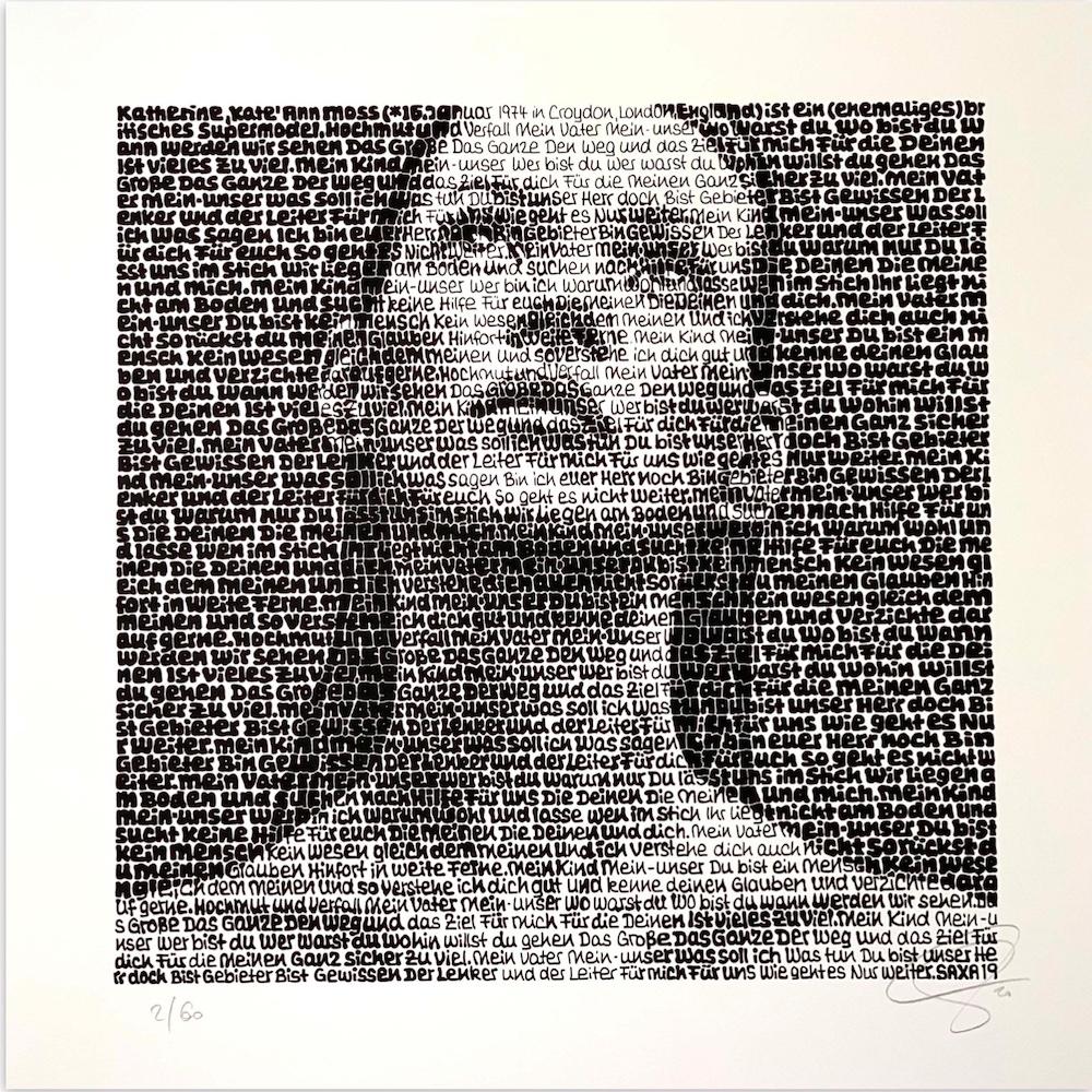 SAXA: Kate Moss, Siebdruck auf Hahnemühle Karton, 20 x 20cm, 150 eur