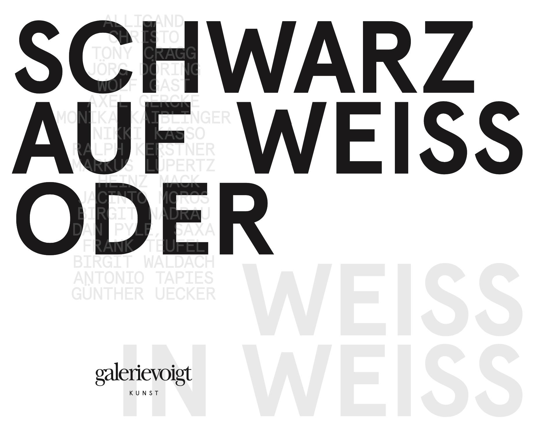 """Einladung zur Ausstellung """"Schwarz auf Weiss oder Weiss in Weiss"""" der Galerie Voigt in Nürnberg, 2020 ©Galerie Voigt"""