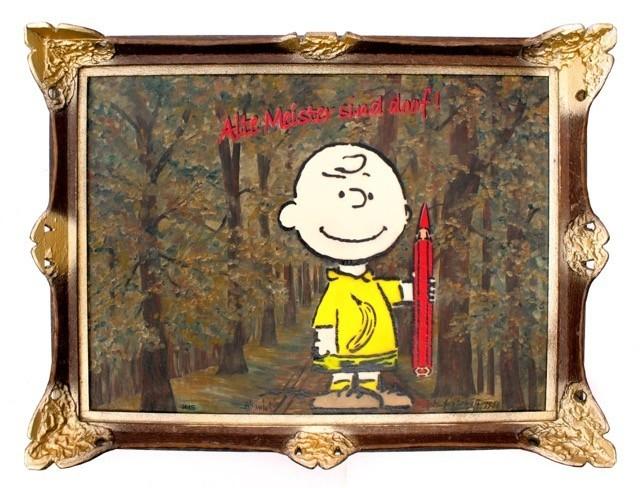 Thomas Baumgärtel: Freiheit für die Kunst, Spraylack auf Ölgemälde, Unikat, Format 80 x 60 cm 5.950 eur