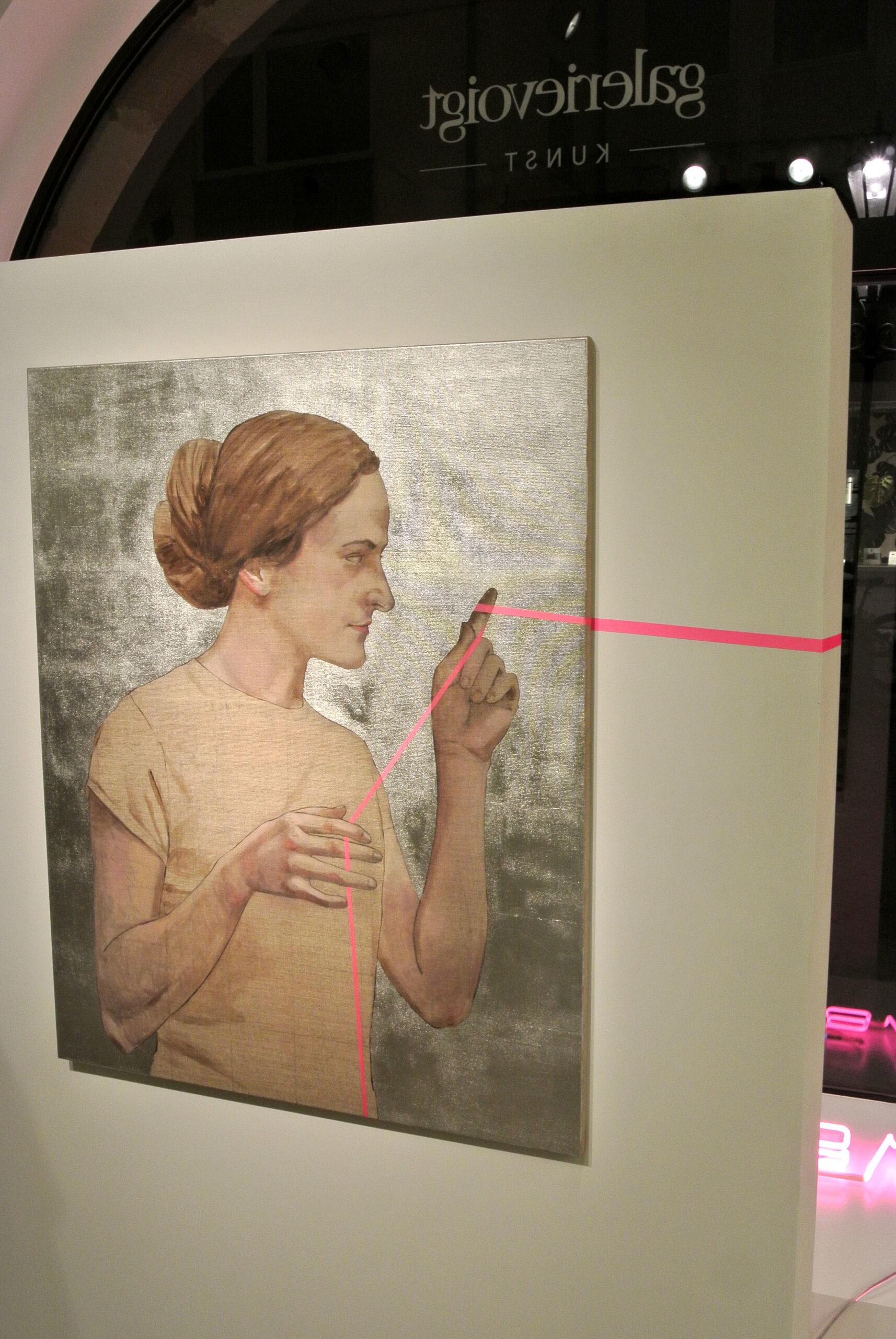 Birgit Nadrau: Unikat, Öl, Blattaluminium und Washiband auf Leinwand, 80 x 100 cm, 3.600 eur.