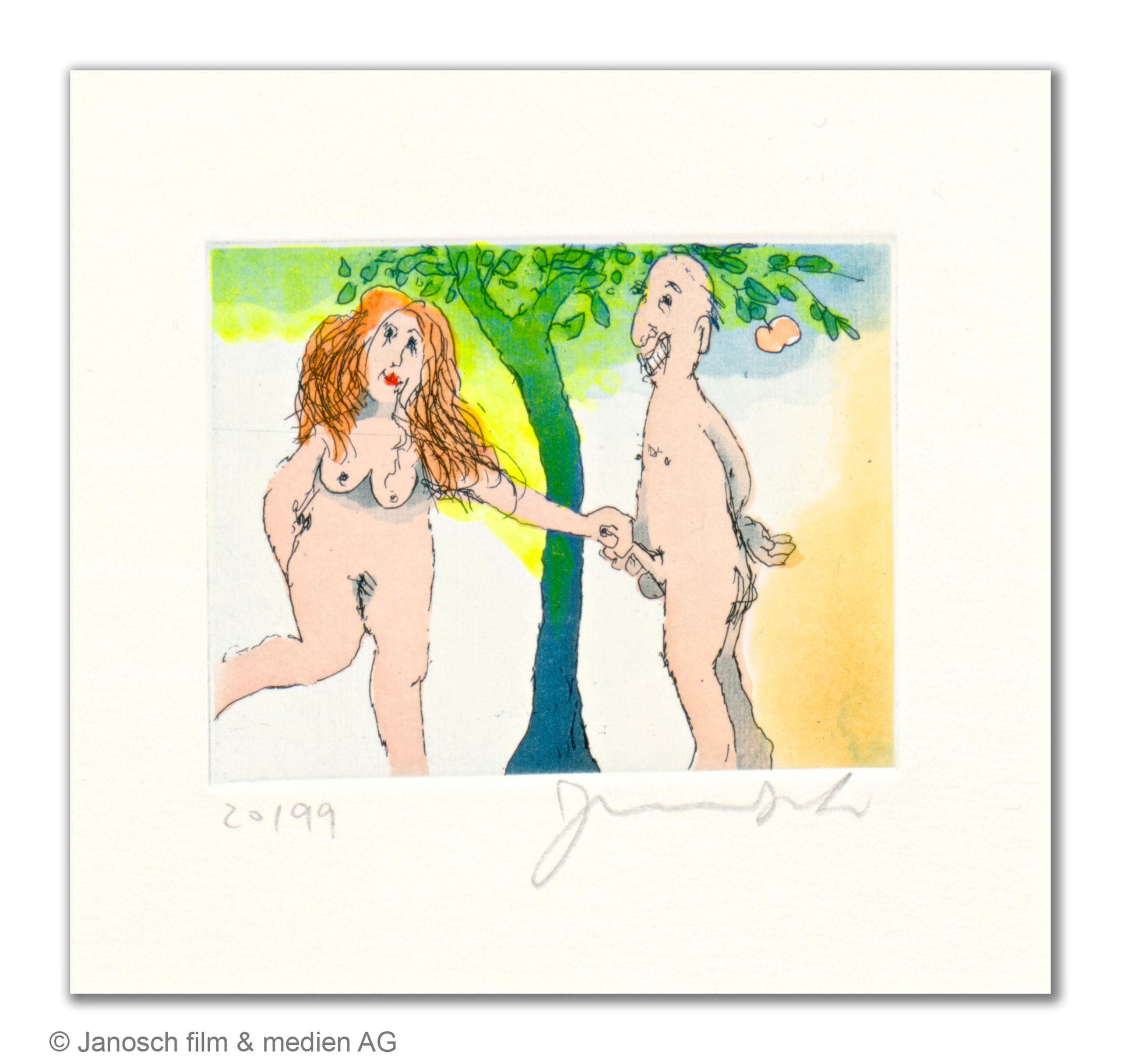 Janosch: Paradiesvogel, Farbradierung, Motiv 10 x 8 cm, 210 eur.© Janosch film & medien AG