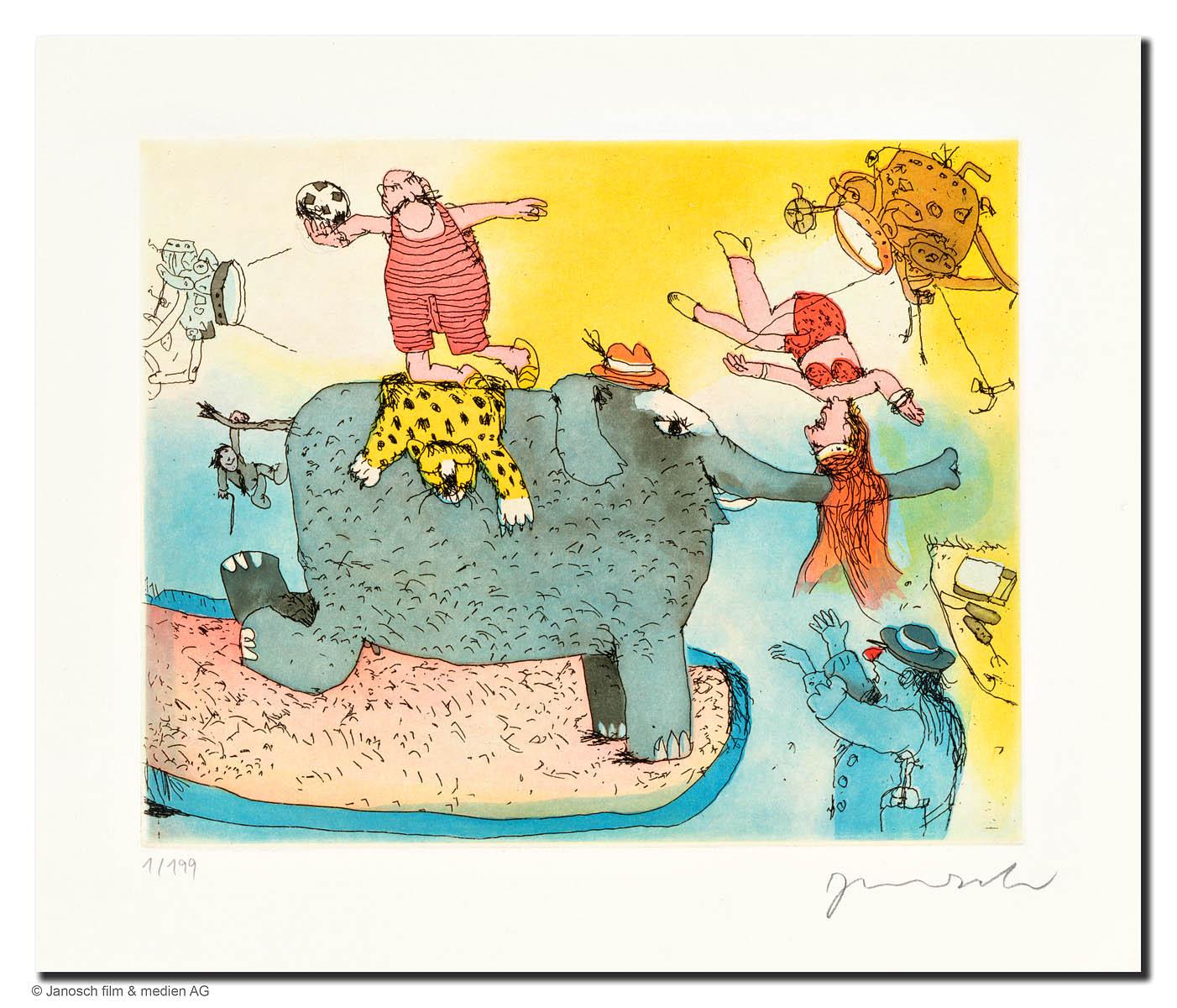 Janosch: Der Elefant steht hier im Licht, Farbradierung, Motiv 24 x 19 cm, Blattformat 45 x 35 cm, 355 eur. © Janosch film & medien AG