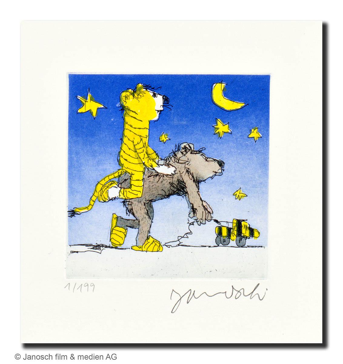 Janosch: Guter Bär, du gehst so stille, Farbradierung, Blattformat 26 x 28 cm, Motiv 10 x 10 cm, 190 eur.© Janosch film & medien AG