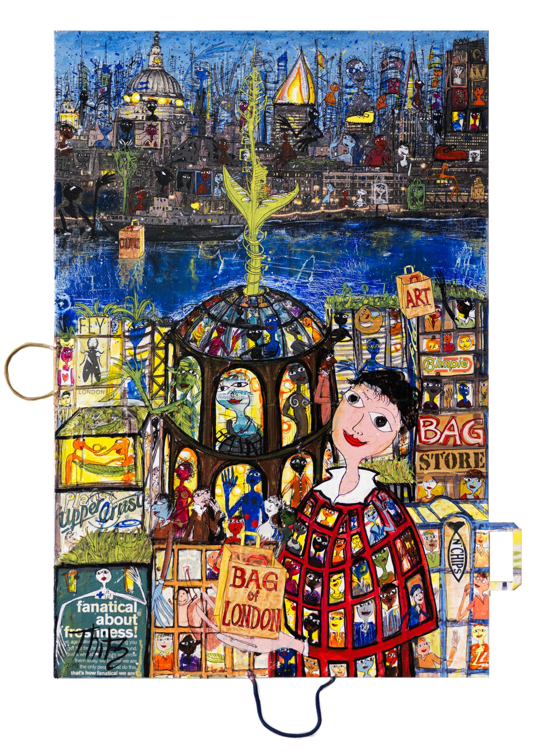 Thitz: London, 2018, Acrylfarben und Tüten auf Leinwand, 120 x 180 cm,
