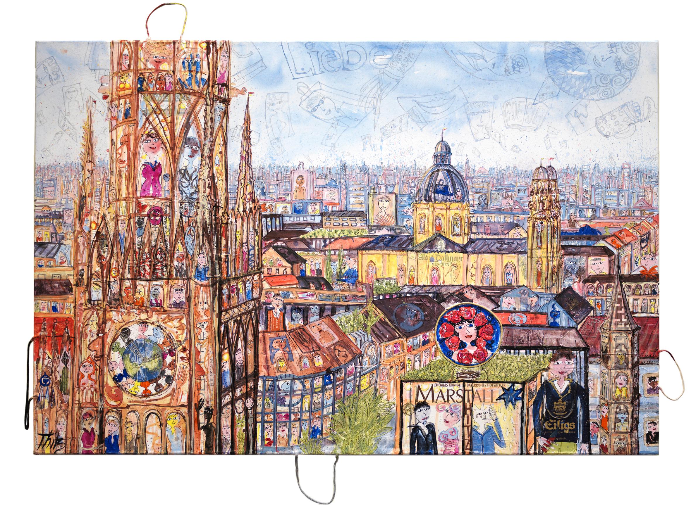 Thitz: München, 2017, Acrylfarben und Tüten auf Leinwand, 120 x 180 cm, 15.000 eur.