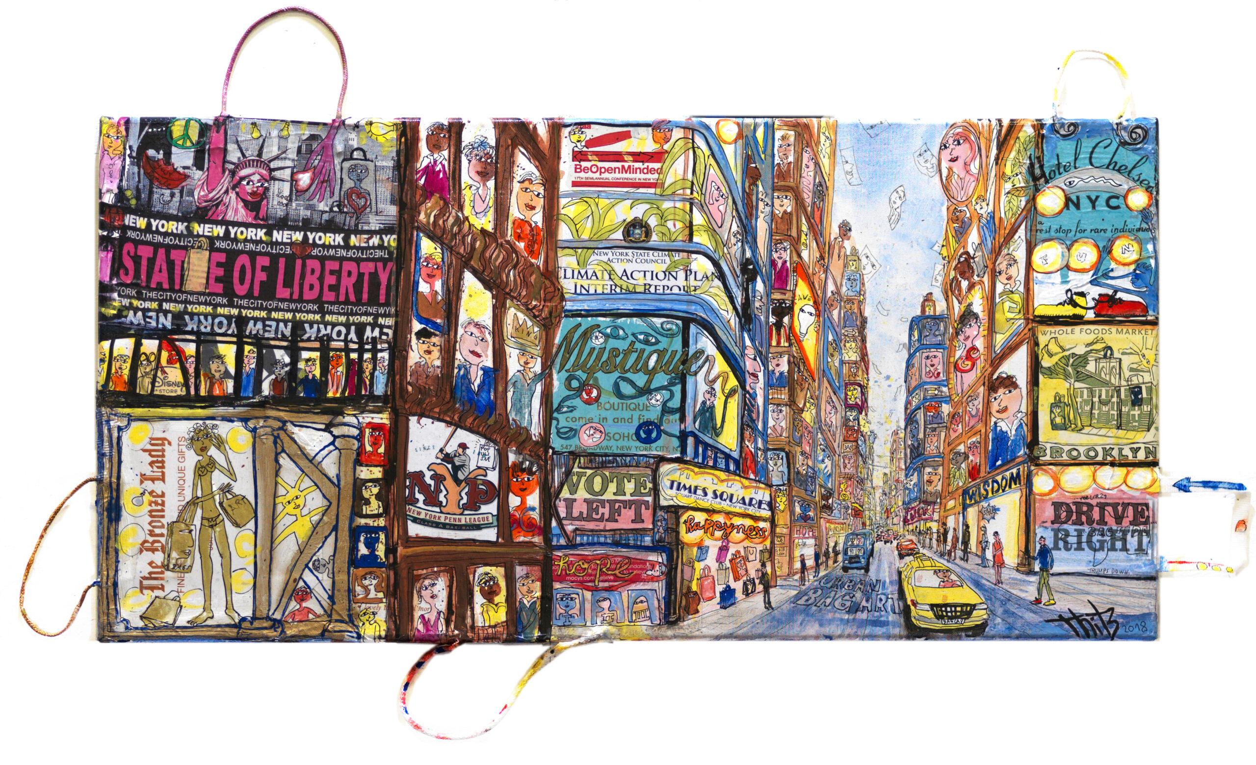 Thitz: New York Broadway, Acrylfarben und Tüten auf Leinwand, 100 x 50 cm, 7.500 eur.