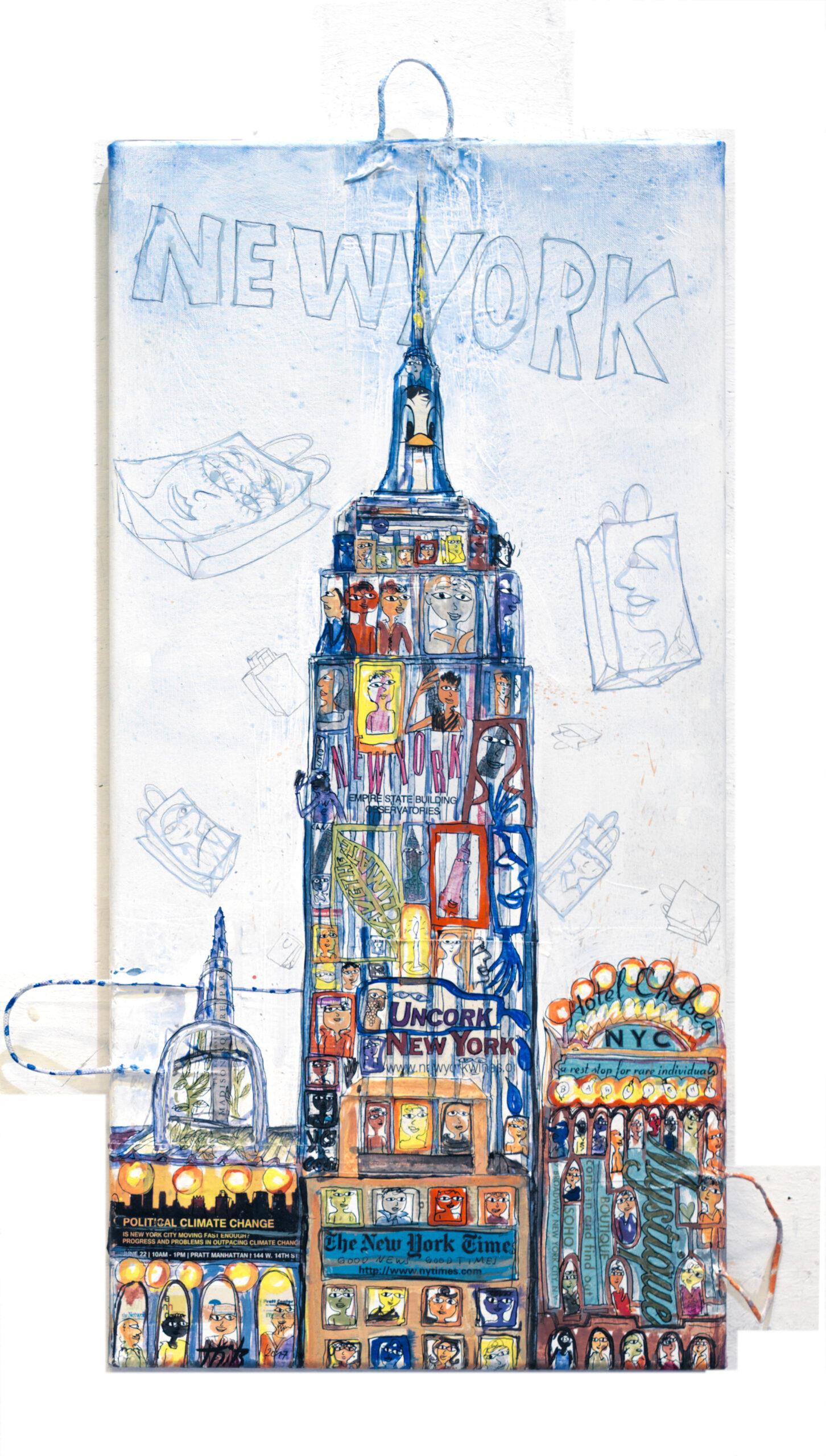 Thitz: New York Empire, Acrylfarben und Tüten auf Leinwand, 50 x 100 cm, 7.500 eur.