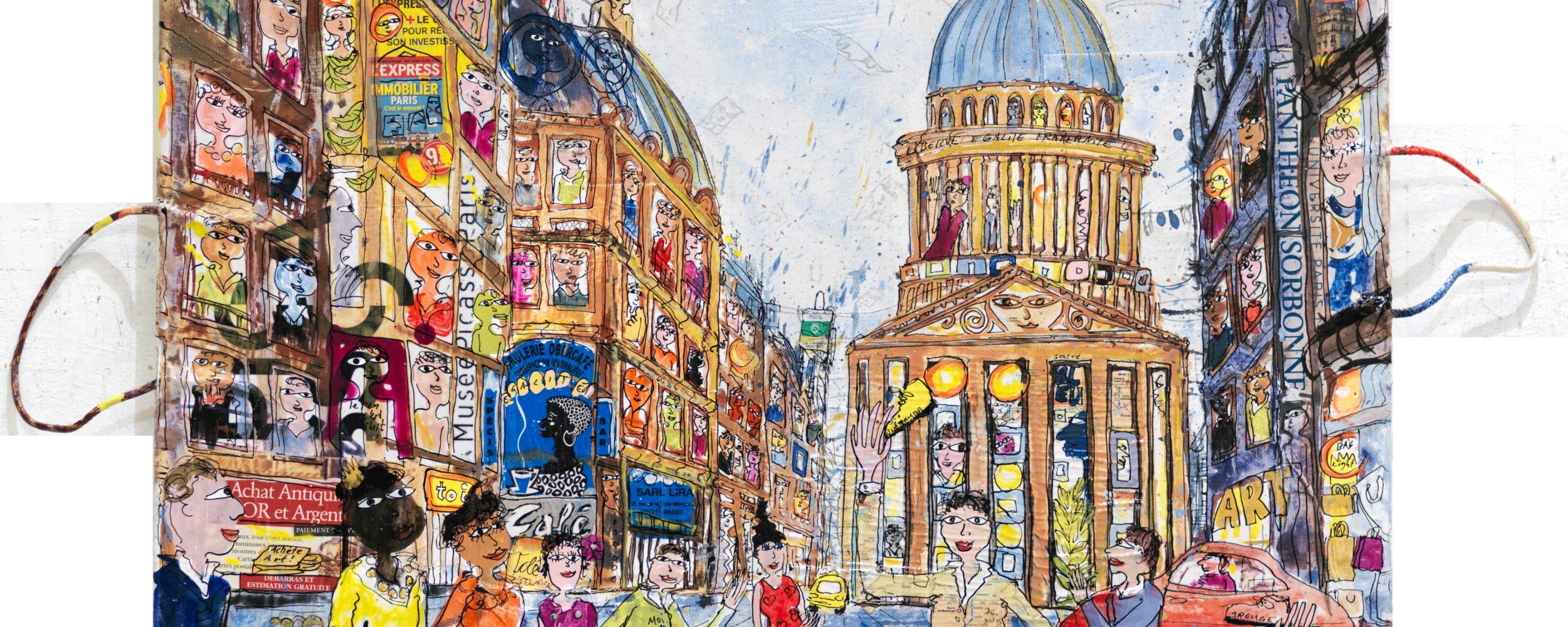 Thitz: Paris Pantheon, 2018, Acrylfarben und Tüten auf Leinwand, 70 x 50, 6.000 eur.