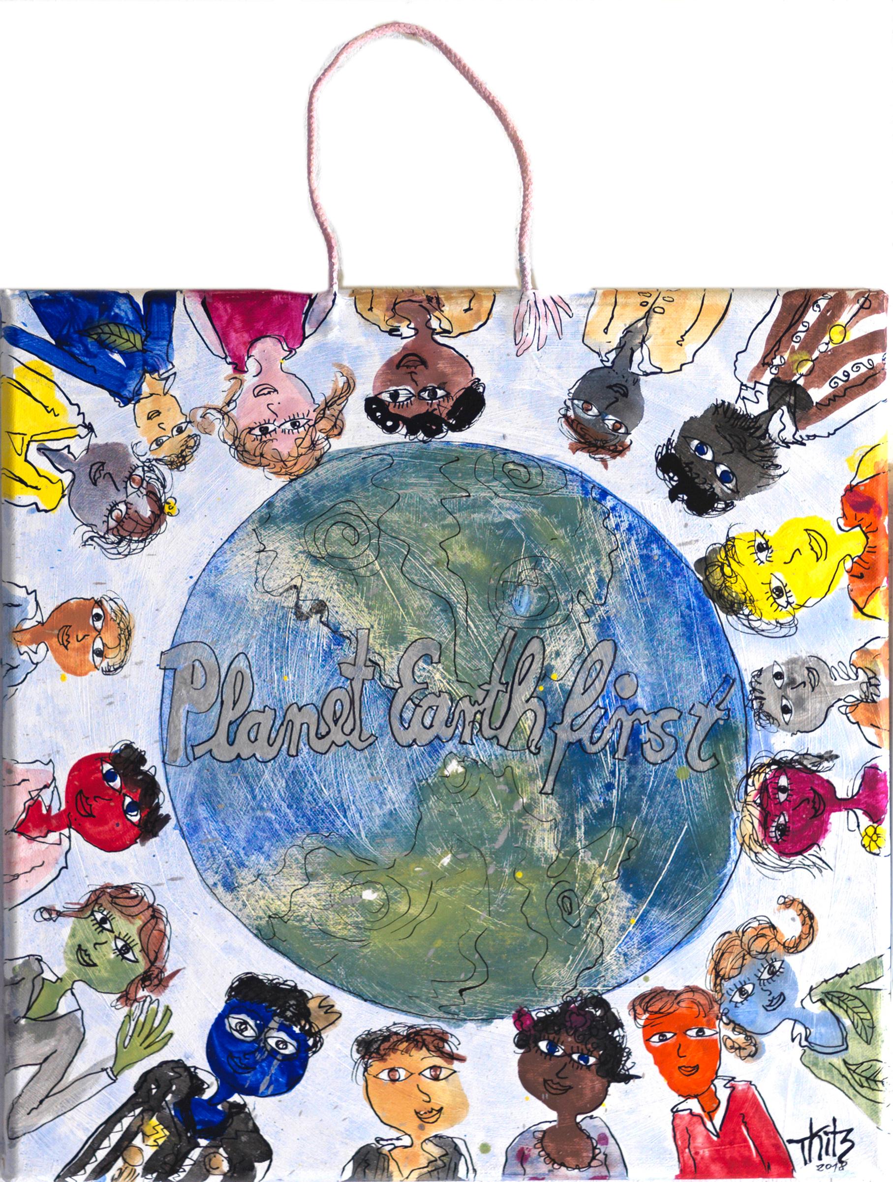 Thitz: Planet Earth First, 2018, Acrylfarben und Tüten auf Leinwand, 40 x 40 cm, 4.000 eur.