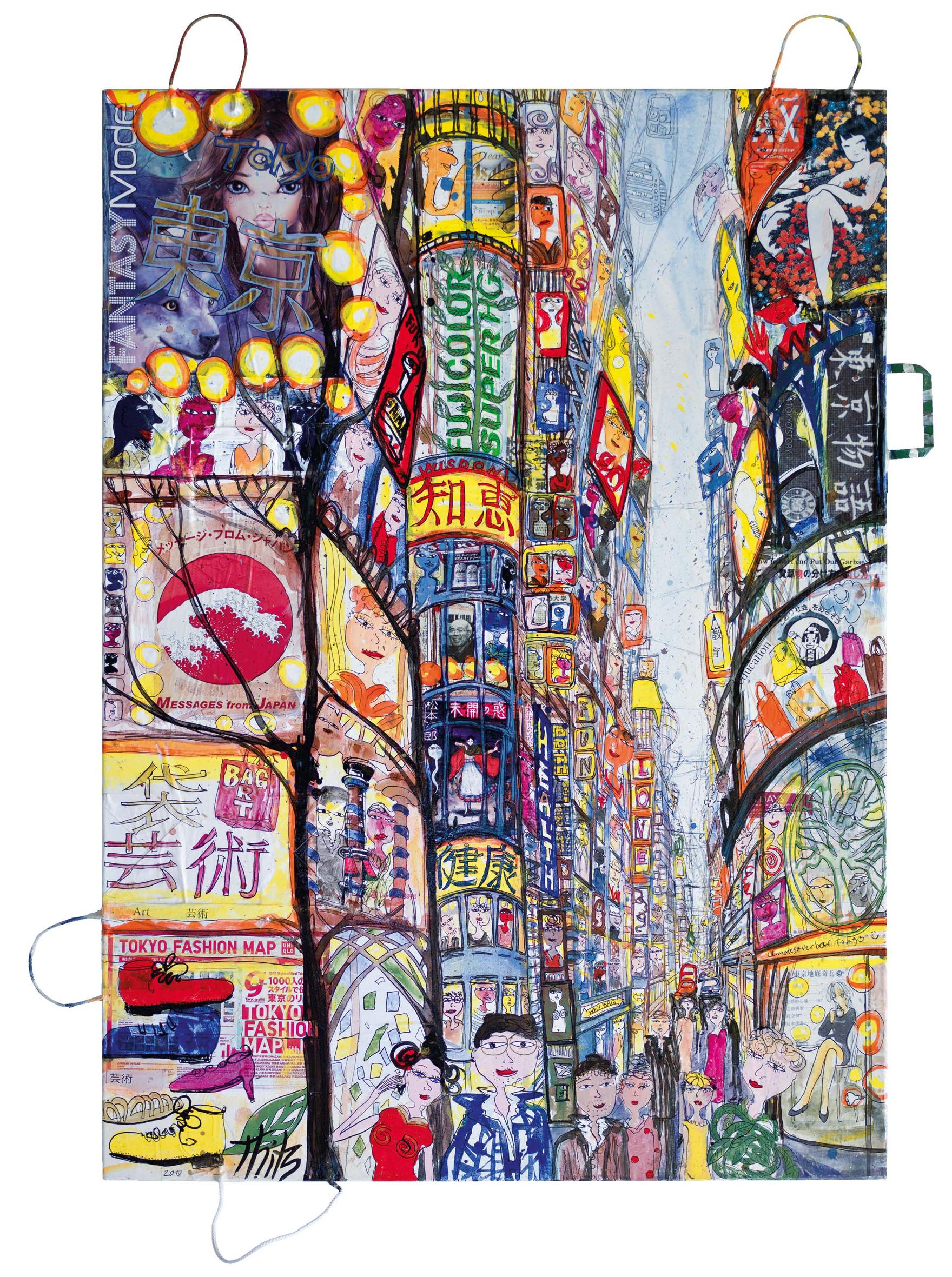 Thitz: Tokyo Fantasy, 2018, Acrylfarben und Tüten auf Leinwand, 140 x 100 cm,