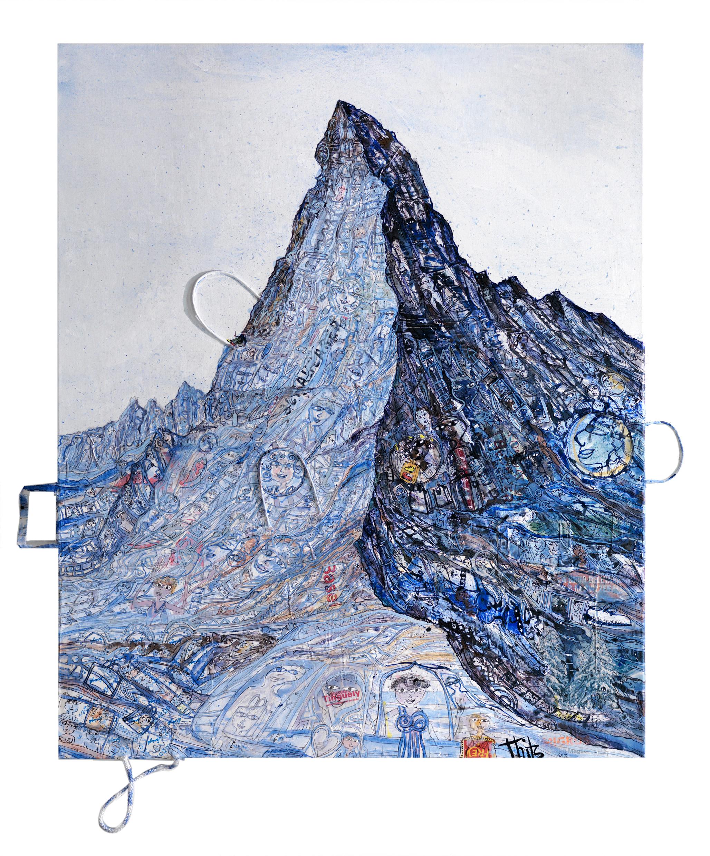 Thitz: Utopische Zivilisation, 2018, Acrylfarben und Tüten auf Leinwand, 100 x 120 cm, 11.000 eur.