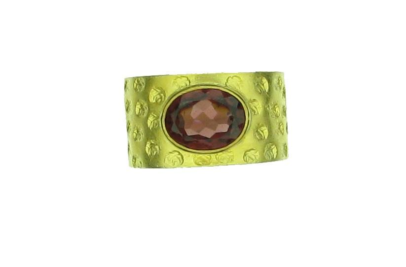 Ring Granat Silber 900 Gold - Autoren Schmuck - 06/103