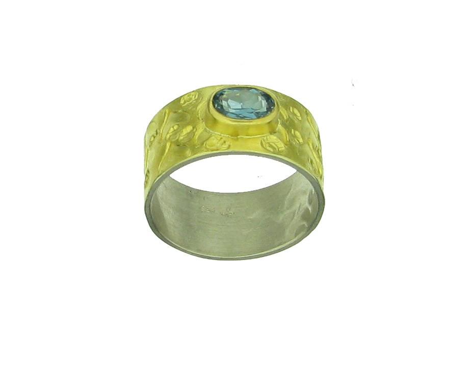 Ring Turmalin 900 Gelbgold - Autoren Schmuck - 06/106