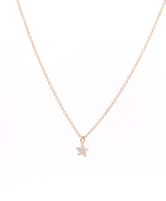 Kette 18ct Roségold mit Diamanten Stern Anhänger - Individuelle Marken - 121dare03-1