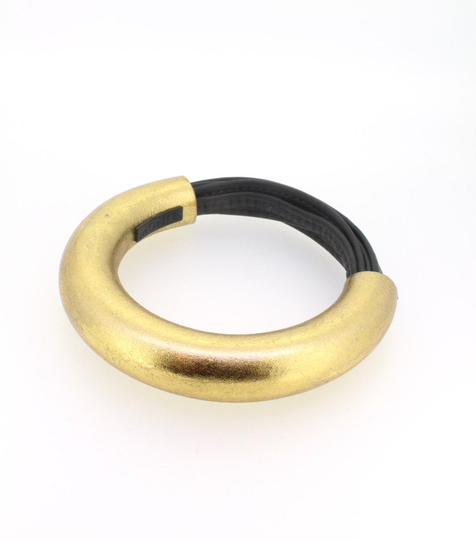 Armreif Leder und Goldfolie - Monies - 2-083