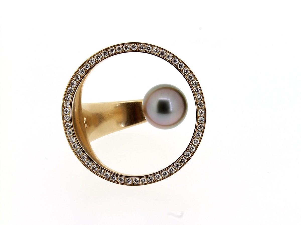 Ring Perl-Insel Brillanten - Angela Hübel - 3127