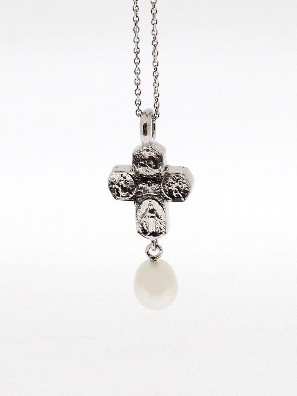 Anhänger Kreuz Perle Silber - GalerieVoigt - 4021KH-P