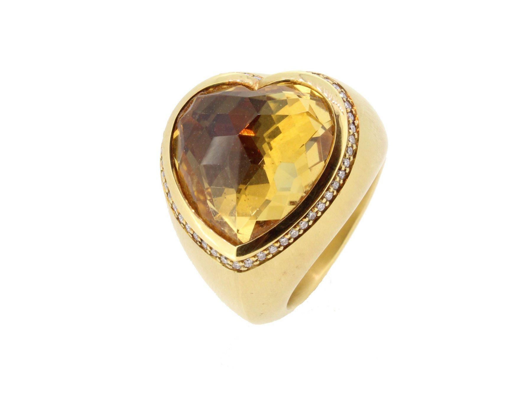 Ring Herz Citrin 18ct Gelbgold - Corinna Heller - 405hell05-3