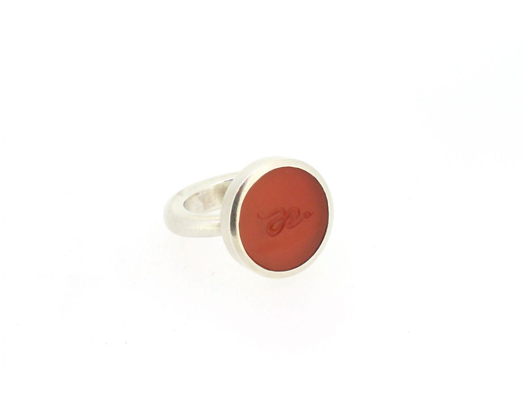 Ring Carneol 925 Silber - Autoren Schmuck - 405pete03-6