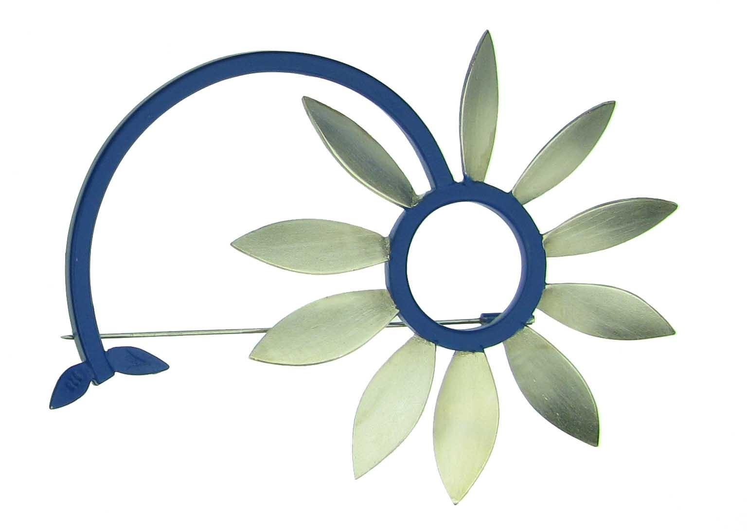 Brosche Sonnenblume 925 Silber - Autoren Schmuck - 6000-2835