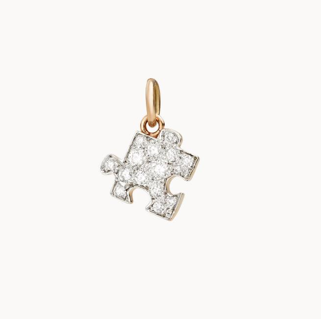 Anhänger Puzzle links Diamanten weiß - Dodo - DMC1002PZZLSDB09R