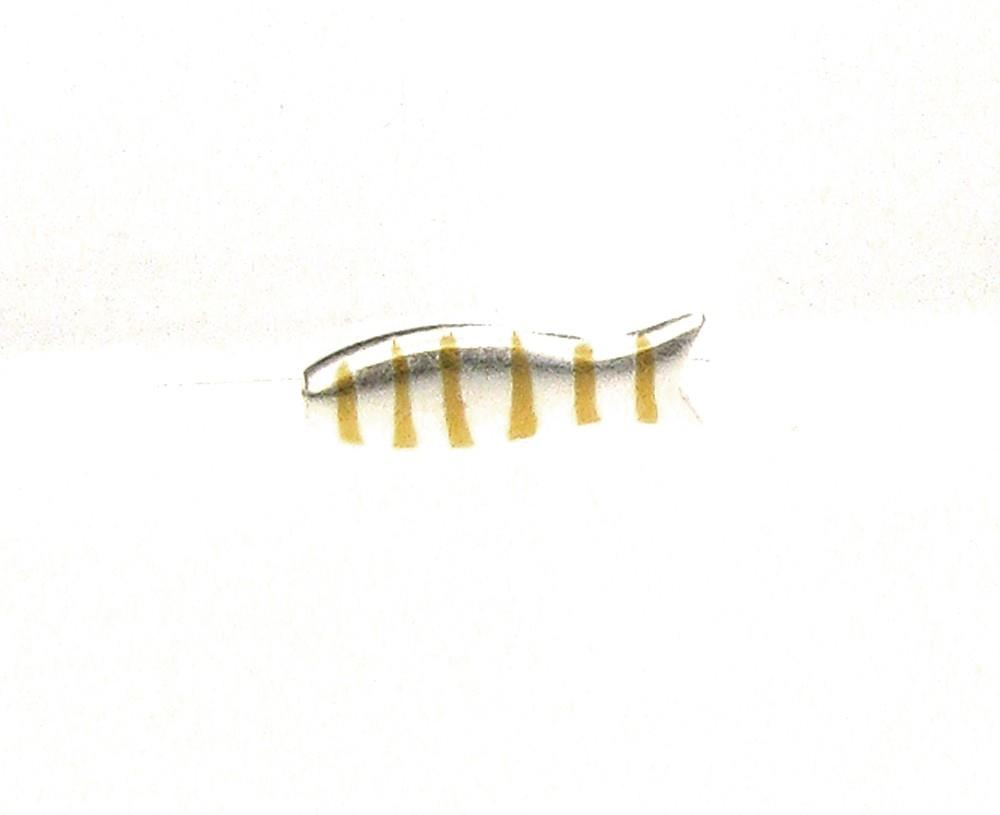 Anhänger Kleiner Fisch Silber Streifen Gold - Sabine Scheuble - F10007SGS