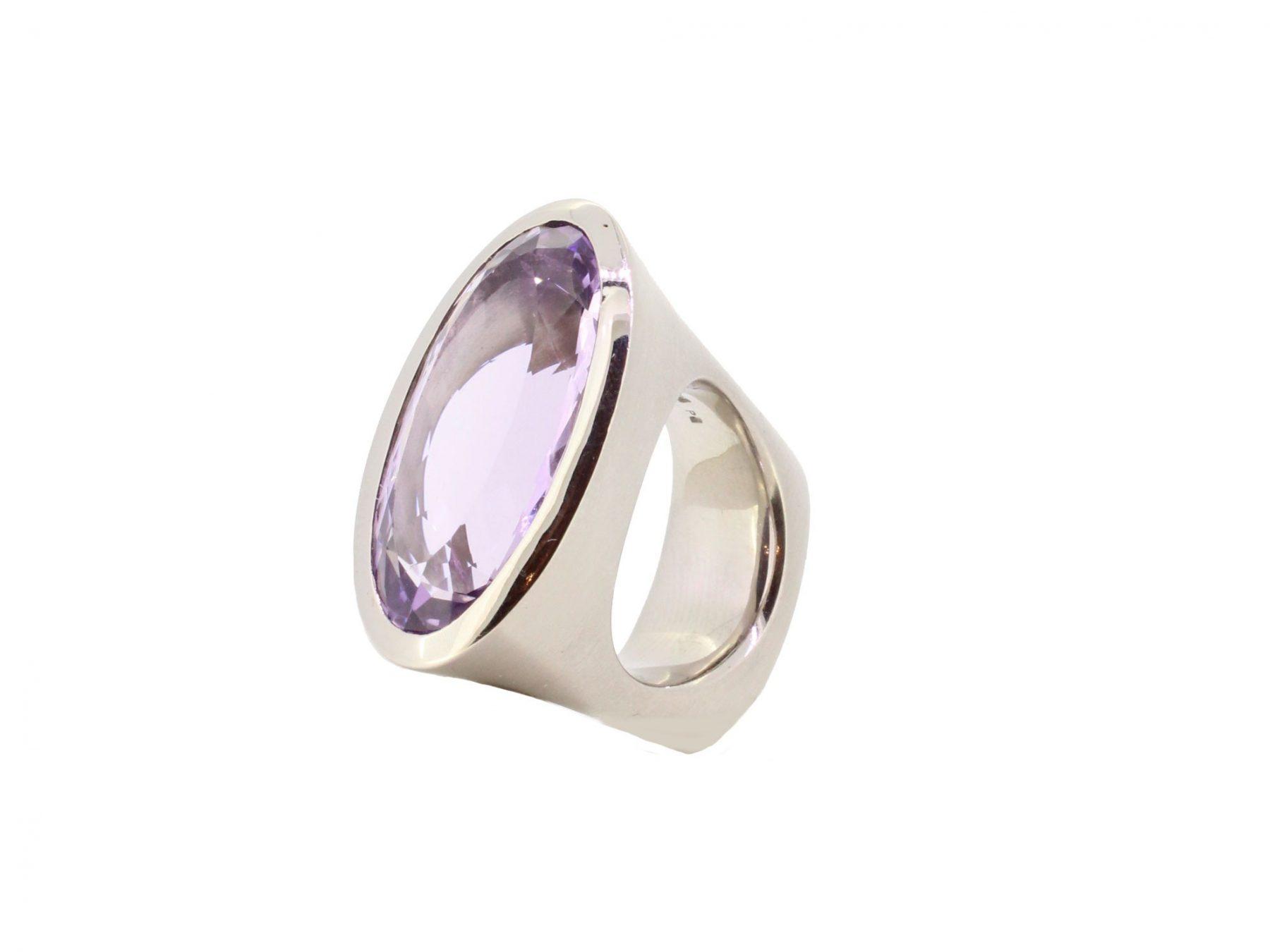 Ring Amethyst 950 Palladium - Individuelle Marken - R-4468