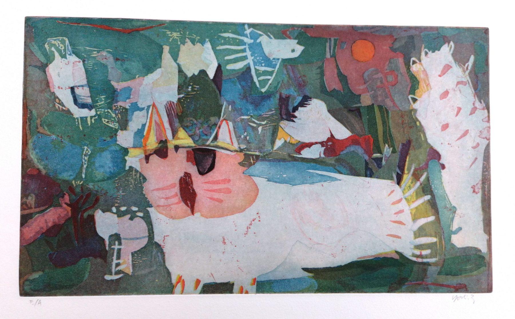 Katze und Vogel - Takahashi, Yoshi - k-04862