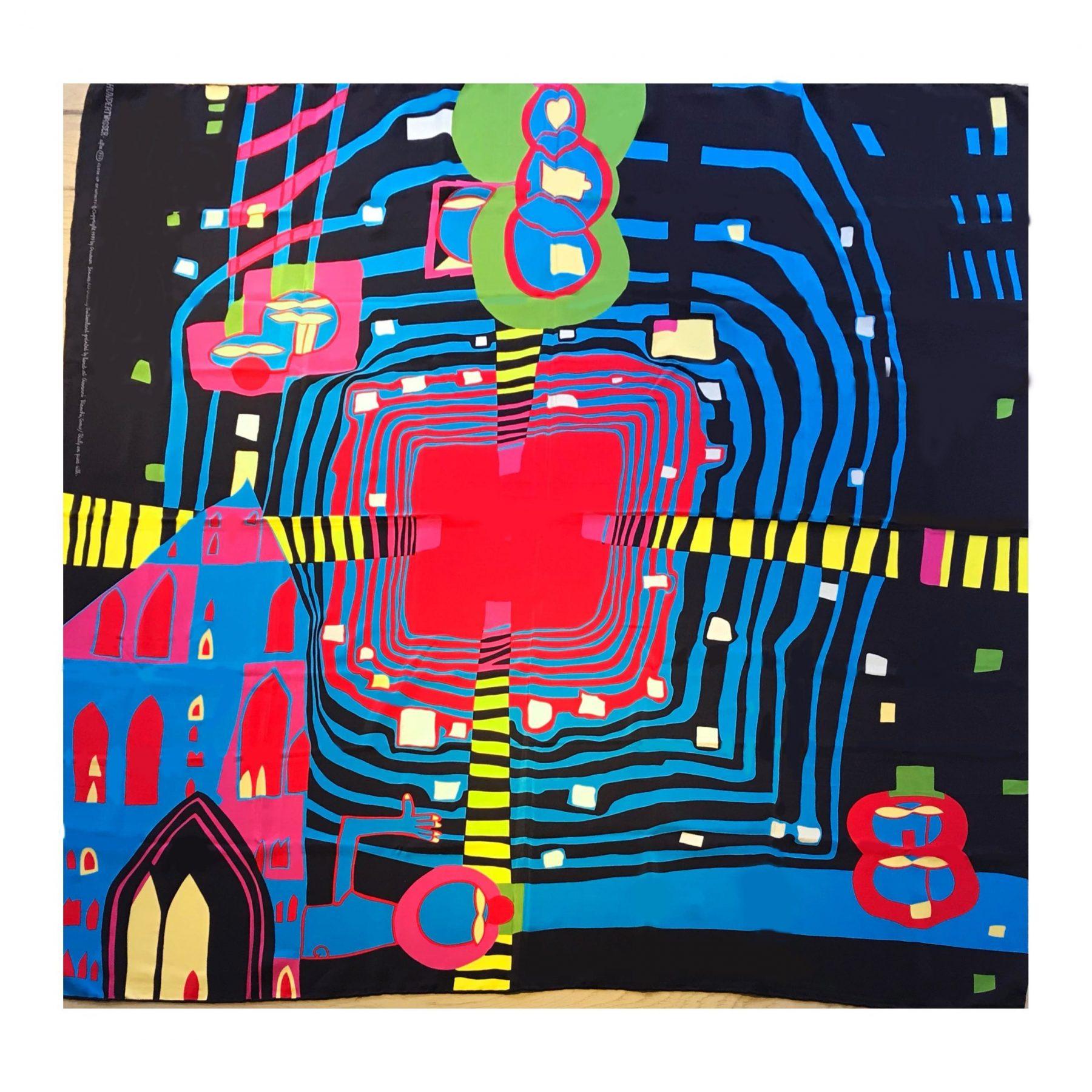 """Seidentuch """"close up of infini - Hundertwasser, Friedensreich - k-11678"""