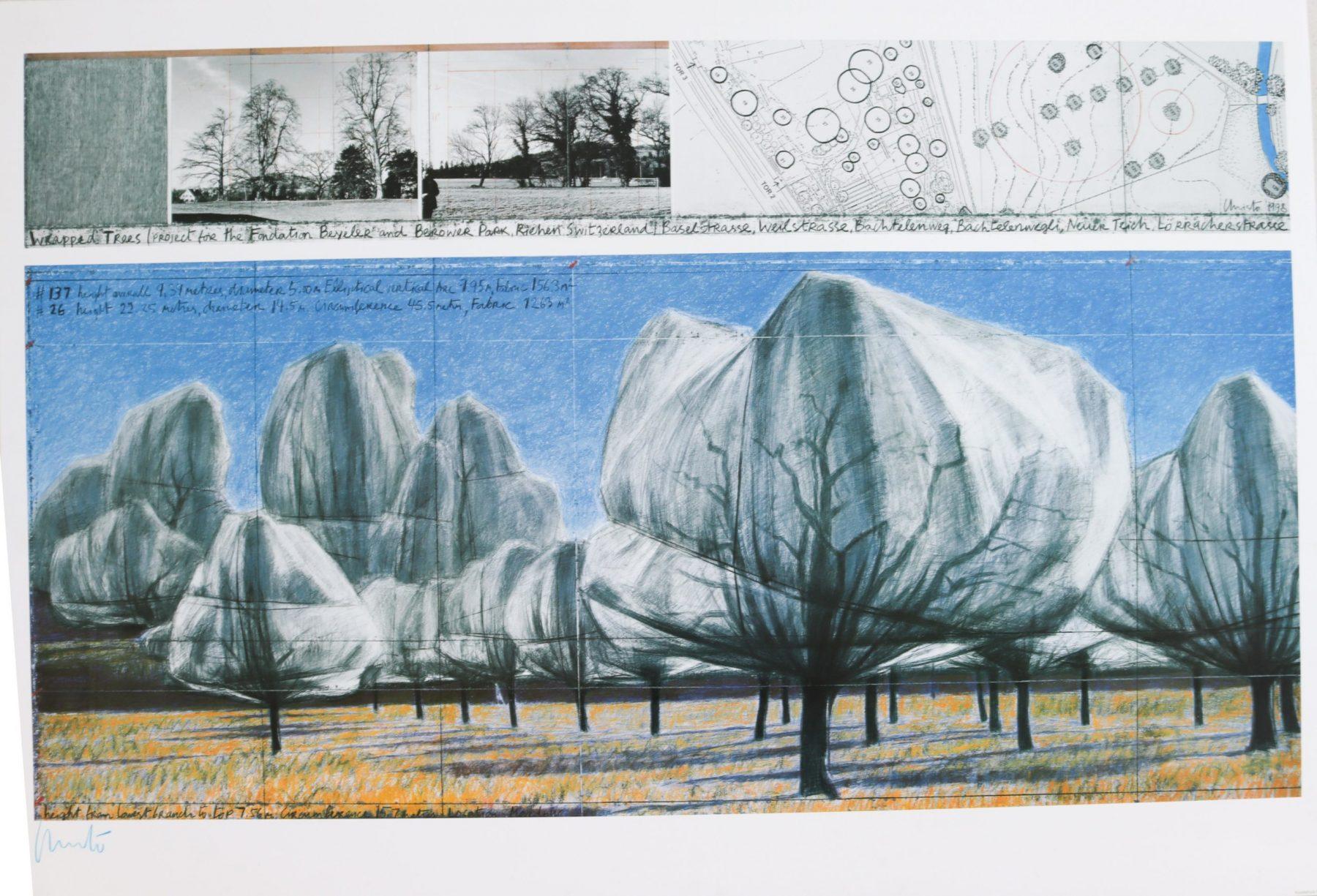 Wrapped Trees VI, signiert - Christo - k-12464