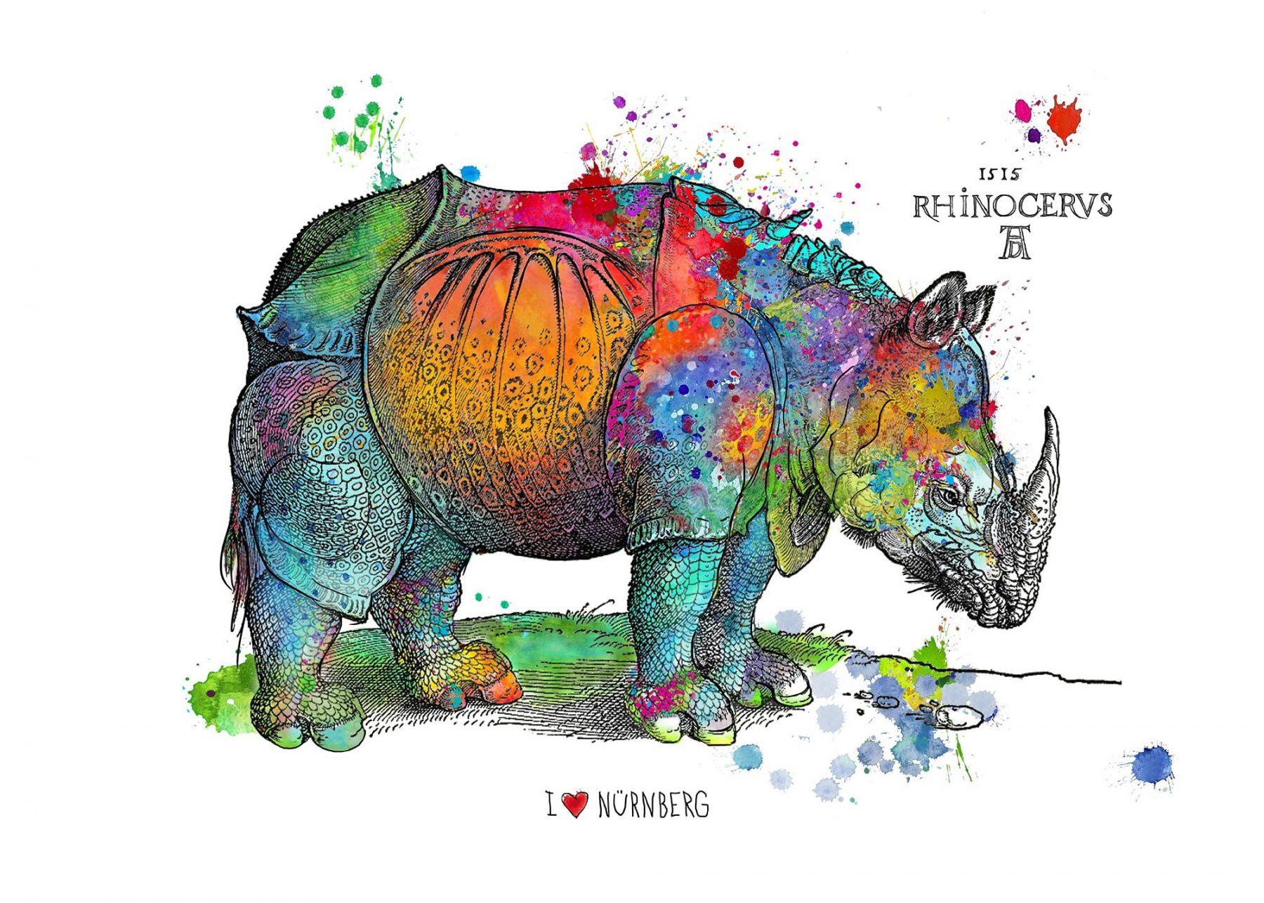 Happy Rhino, bunt - Osten, Birgit - k-BO95
